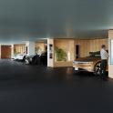 Indoor-Parkhaus mit Schnellladestationen